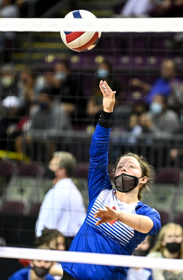 COLORADO SPRINGS, CO - MAY 12:Briggsdale's Courtney Krise (21) attacks during the Briggsdale Falcons 1A girls volleyball state quarterfinal match against the Merino Rams at The Broadmoor World Arena in Colorado Springs May 12, 2021. The Briggsdale Falcons fell to the Merino Rams 3-0. (Alex McIntyre/Staff Photographer)