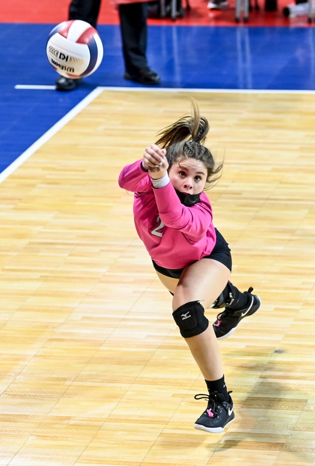 COLORADO SPRINGS, CO - MAY 12:Dayspring Christian's Carley Mondragon (2) dives for a dig but hits it off the court during the Dayspring Christian Eagles 2A girls volleyball state quarterfinal match against the Sedgwick County Cougars at The Broadmoor World Arena in Colorado Springs May 12, 2021. The Dayspring Christian Eagles fell to the Sedgwick County Cougars 3-0. (Alex McIntyre/Staff Photographer)