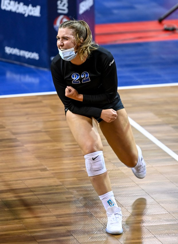 COLORADO SPRINGS, CO - MAY 12:Dayspring Christian's Tabor Flanagan (22) reacts after scoring a point during the Dayspring Christian Eagles 2A girls volleyball state quarterfinal match against the Sedgwick County Cougars at The Broadmoor World Arena in Colorado Springs May 12, 2021. The Dayspring Christian Eagles fell to the Sedgwick County Cougars 3-0. (Alex McIntyre/Staff Photographer)