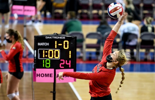 COLORADO SPRINGS, CO - MAY 12:Eaton's Emily Maske (15) attacks during the Eaton Reds 3A girls volleyball state quarterfinal match against the Resurrection Christian Cougars at The Broadmoor World Arena in Colorado Springs May 12, 2021. The Reds defeated the Cougars 3-1 and will advance to the semifinals. (Alex McIntyre/Staff Photographer)