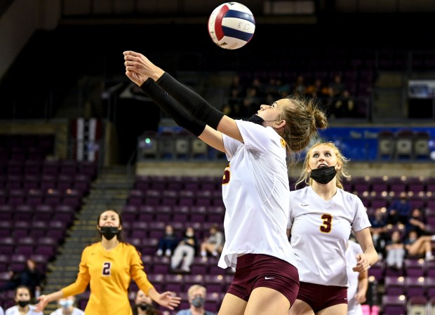 COLORADO SPRINGS, CO - MAY 13:Windsor's Julia Bohlinger (6) hits during the Windsor Wizards 4A girls volleyball state semifinal match against the Mead Mavericks at The Broadmoor World Arena in Colorado Springs May 13, 2021. The Windsor Wizards fell to the Mead Mavericks 3-2. (Alex McIntyre/Staff Photographer)