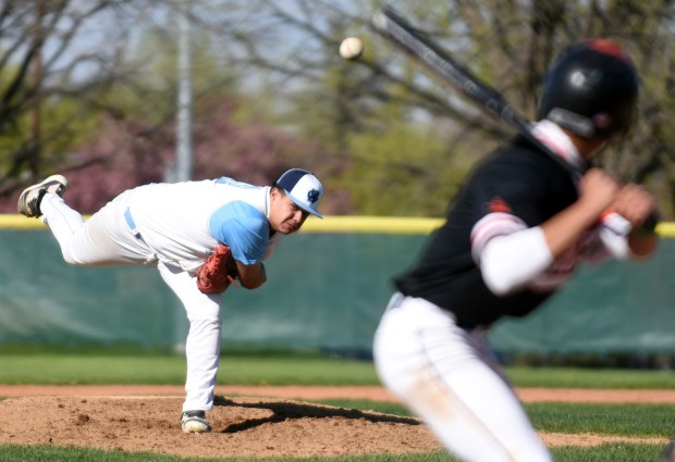 GREELEY, CO - MAY 12:Greeley West's Rodney Villegas pitches during the game against Greeley Central at Butch Butler Field in Greeley May 12, 2021. (Photos by Josh Polson/For the Greeley Tribune)