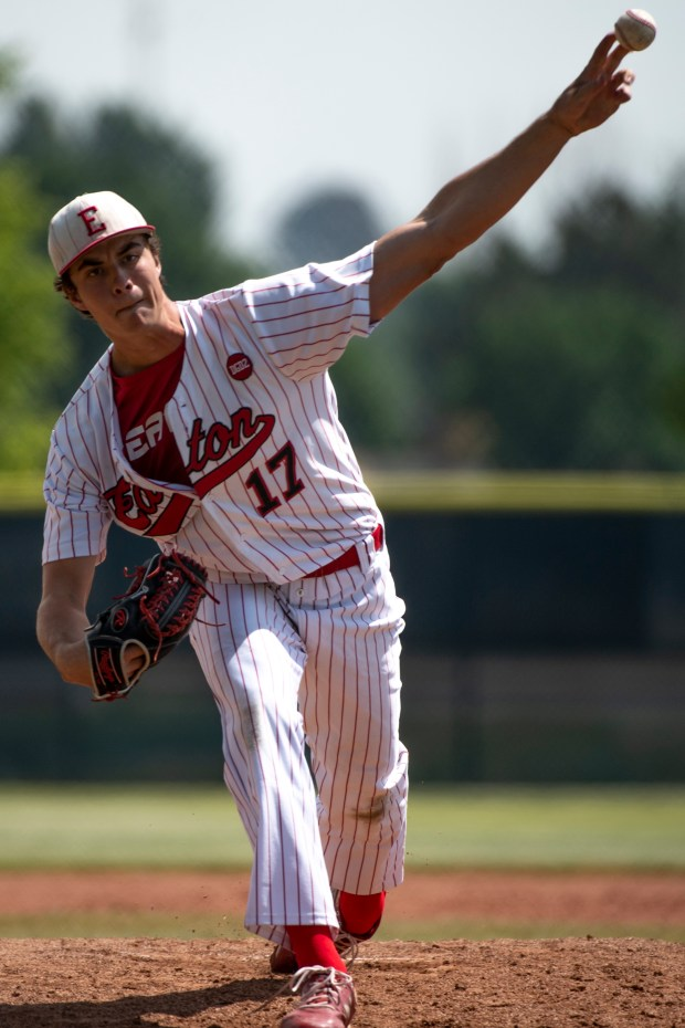 FREDERICK, CO - JUNE 25:Eaton's Ryan Ure (17) pitches during the Eaton Reds state semifinal baseball game against the Lutheran Lions at Frederick High School in Frederick June 25, 2021. The Eaton Reds defeated the Lutheran Lions 2-1. (Alex McIntyre/Staff Photographer)