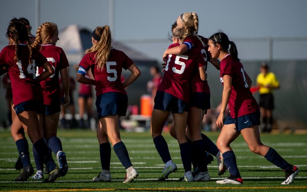 GREELEY, CO - JUNE 08:The Northridge Grizzlies react after Northridge's Paige Hill (20) scored a point during the Northridge Grizzlies girls soccer match against the Severance Silver Knights at District 6 Soccer Stadium in Greeley June 8, 2021. The Grizzlies defeated the Silver Knights 10-0. (Alex McIntyre/Staff Photographer)