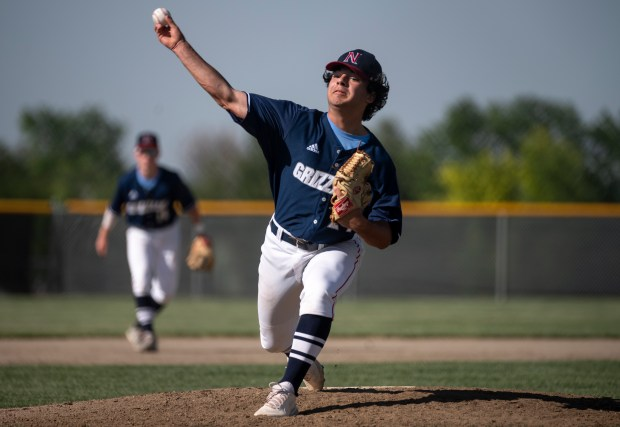 GREELEY, CO - JUNE 10:Northridge's Parker Steckel (24) pitches during the Northridge Grizzlies baseball game against the Silver Creek Raptors at Darryl Kile Field in Greeley June 10, 2021. The Grizzlies defeated the Raptors 9-7. (Alex McIntyre/Staff Photographer)