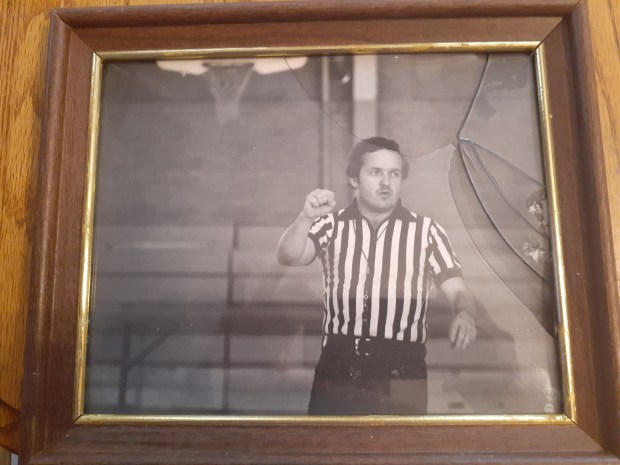 Tom Gallatin's early days of officiating high school basketball. He's officiated prep basketball since 1968. (Courtesy/Tom Gallatin)