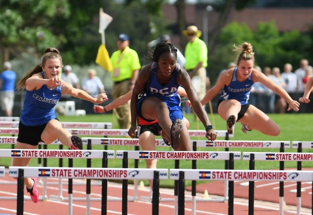 Dayspring Christian freshman Eboselulu Omofoma competes in girls 100-meter hurdles at the Class 2A track and field state championships June 24-26 at Jefferson County Stadium in Lakewood. She won the event with a time of 15.41 seconds (Courtesy/Rick Krehbiel)