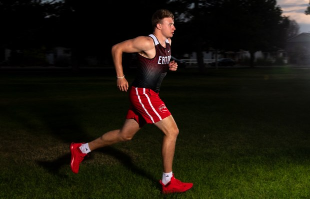 EATON, CO - JULY 22:Eaton High School graduating senior Scott Grable stands for a portrait at Eaton City Park in Eaton July 22, 2021. Grable, a three-sport athlete playing football and basketball and running track for the Reds, is the 2021 Greeley Tribune's Boys Athlete of the Year. (Alex McIntyre/Staff Photographer)