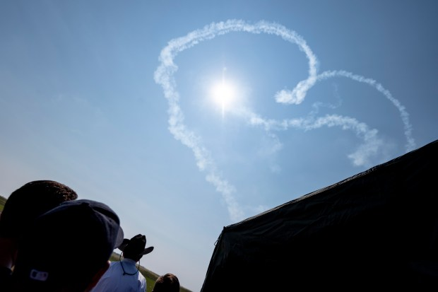CHEYENNE, WY - JULY 28:The U.S. Air Force Thunderbirds draw a heart in the sky during the 2021 annual Wings Over Warren air show at Francis E. Warren Air Force Base in Cheyenne, Wyo. July 28, 2021. The air show featured parachute jumps by U.S. Air Force Academy cadets, flyovers by a variety of aircraft and a demonstration by the U.S. Air Force Thunderbirds. (Alex McIntyre/Staff Photographer)