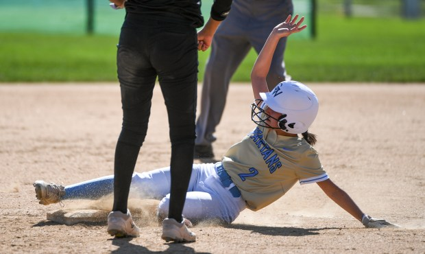 GREELEY, CO - AUGUST 24:Greeley West's Ashley Arrendondo slides as she steals second base during the Greeley Central Wildcats softball game against the Greeley West Spartans at the Greeley-Evans Youth Sports Complex in Greeley Aug. 24, 2021. (Alex McIntyre/Staff Photographer)