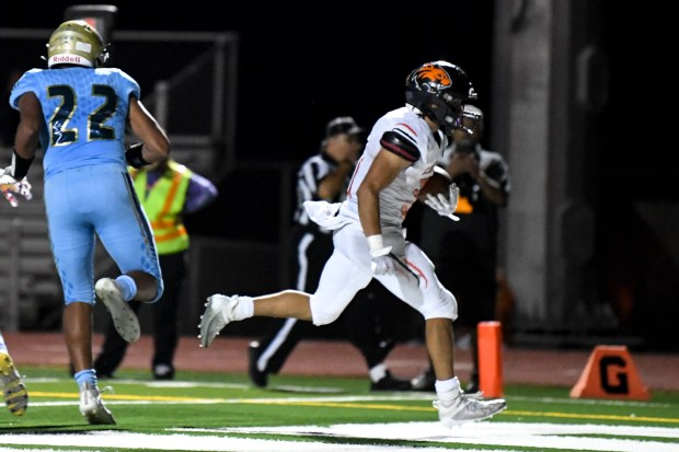 GREELEY, CO - SEPTEMBER 24:Greeley Central's Yahir Chairez-Salazar (31) runs into the end zone for a touchdown during the Greeley Central Wildcats crosstown rivalry football game against the Greeley West Spartans at District 6 Stadium in Greeley Sept. 24, 2021. The Wildcats defeated the Spartans 32-13. (Alex McIntyre/Staff Photographer)