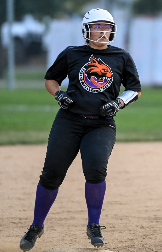 GREELEY, CO - SEPTEMBER 23:Greeley Central's Morgan Arias (30) arrives at second after a hit during the Greeley Central Wildcats softball game against the Greeley West Spartans at Greeley-Evans Youth League Complex in Greeley Sept. 23, 2021. The Wildcats dedicated the game to the Best Buddies club with special purple-accented uniforms, and club member Xavier Reichel threw the honorary first pitch. (Alex McIntyre/Staff Photographer)