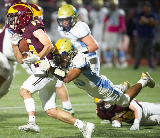 Windsor's Josh Taylor, left, breaks loose from Greeley West's Dylan Zuniga while playing in Windsor on Friday, Oct. 8, 2021. (Courtesy/Jim Rydbom)