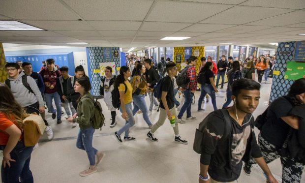 Students walk through Greeley West High School. (Greeley Tribune File Photo)