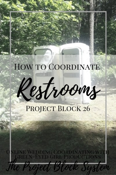How to Coordinate Wedding Day Restrooms. How to Plan for Wedding Bathrooms. Portable Wedding Toilets. Wedding Rentals. Portable Wedding Restrooms. What to know about renting bathrooms. Wedding Planning