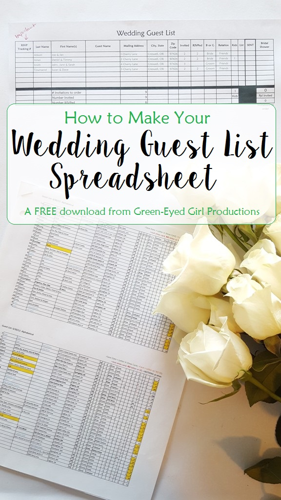 How To Make Your Wedding Guest List Spreadsheet {Free Download