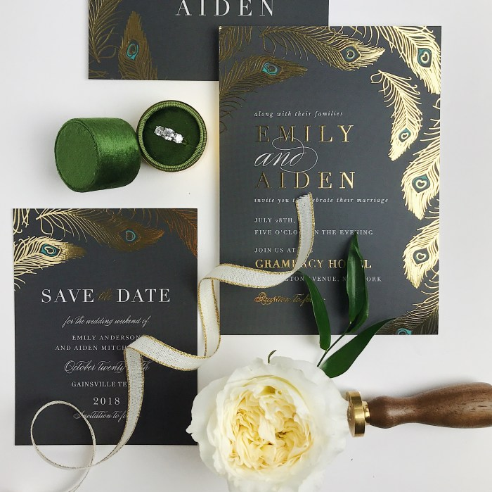 Save the Date with Basic Invite. Save the Date Inspirations. Black and Gold Save Dates. Emerald Great Invitations. Peacock Wedding Invitations