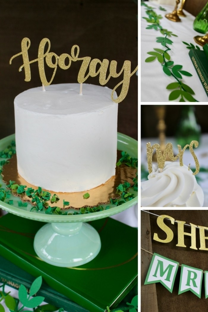 She Said Yes Engagement Party Decor, Gold Engagement Party Ideas. Eucalyptus Engagement Party Details. Gold and Eucalyptus Wedding. Vintage Green and Gold. Great Gatsby Engagement Party