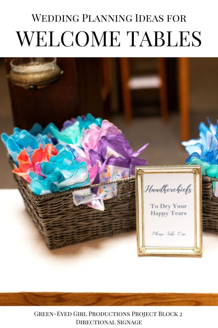 Tears of Joy Handkerchiefs at your Wedding add a vintage charm. . Your Wedding Welcome Entrance is the first thing guests see when they arrive on your big day. In this post I'm covering Wedding Welcome Sign Ideas, Fun Ceremony Props to give to guests and more Wedding Welcome Entrance Decor.