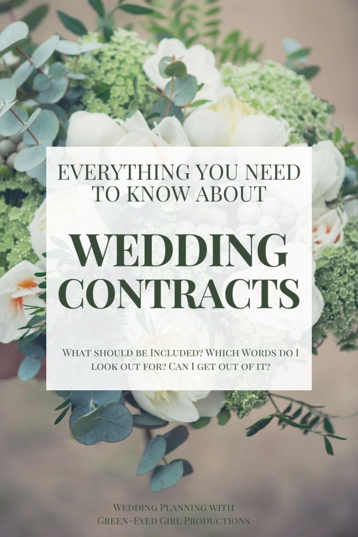 Hooray, You're ready to hire your Wedding Vendors! It's time to review some Wedding Contract and get down to the details. We're covering Negotiations, Quotes, Cancellation policies, and more.  * Everything you need to know about Wedding Contracts. Wedding Venue Contracts. What is in a Wedding Contract?