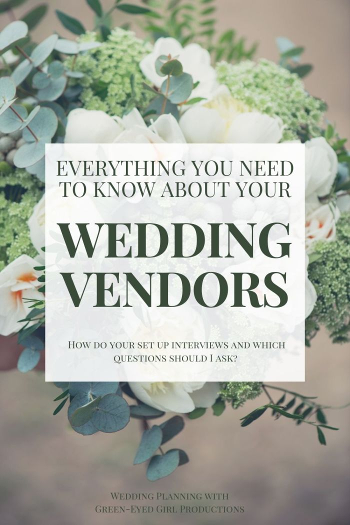 Let's talk about hiring your Wedding Vendors. These professionals will spend your entire entire day with you, so let's make them your Dream Team! I'm outlining How to Hire your Wedding Vendors and schedule Interviews. Learn about Interviews and What Questions to ask Wedding Professionals? Use the GEG Workbook to get the proper questions answered:  Wedding Venue, Photographer, Caterer, Florist, Bridal Salon, DJ, Videographer and more.