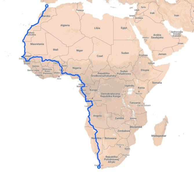 elektrycznym autem przez Afrykę mapa