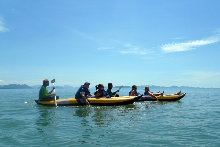 Canoeing in the sea of Phang Nga bay