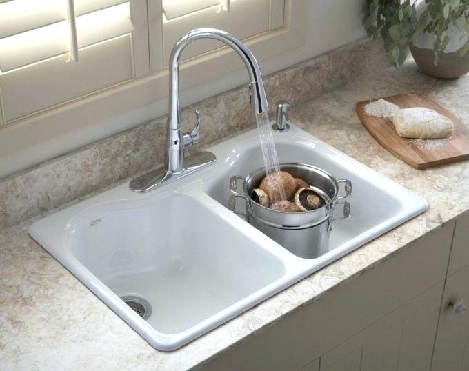 white porcelain kitchen sink painted round table kohler awesome u picture for regarding care