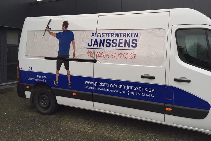 Aalst autobestickering bestickering camionnette Pleisterwerken Janssens
