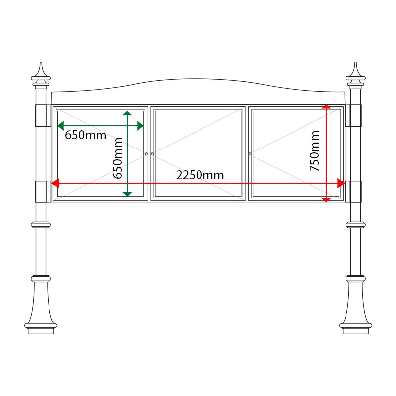 3-Bay 6 x A4 Lockable Decorative External Noticeboard