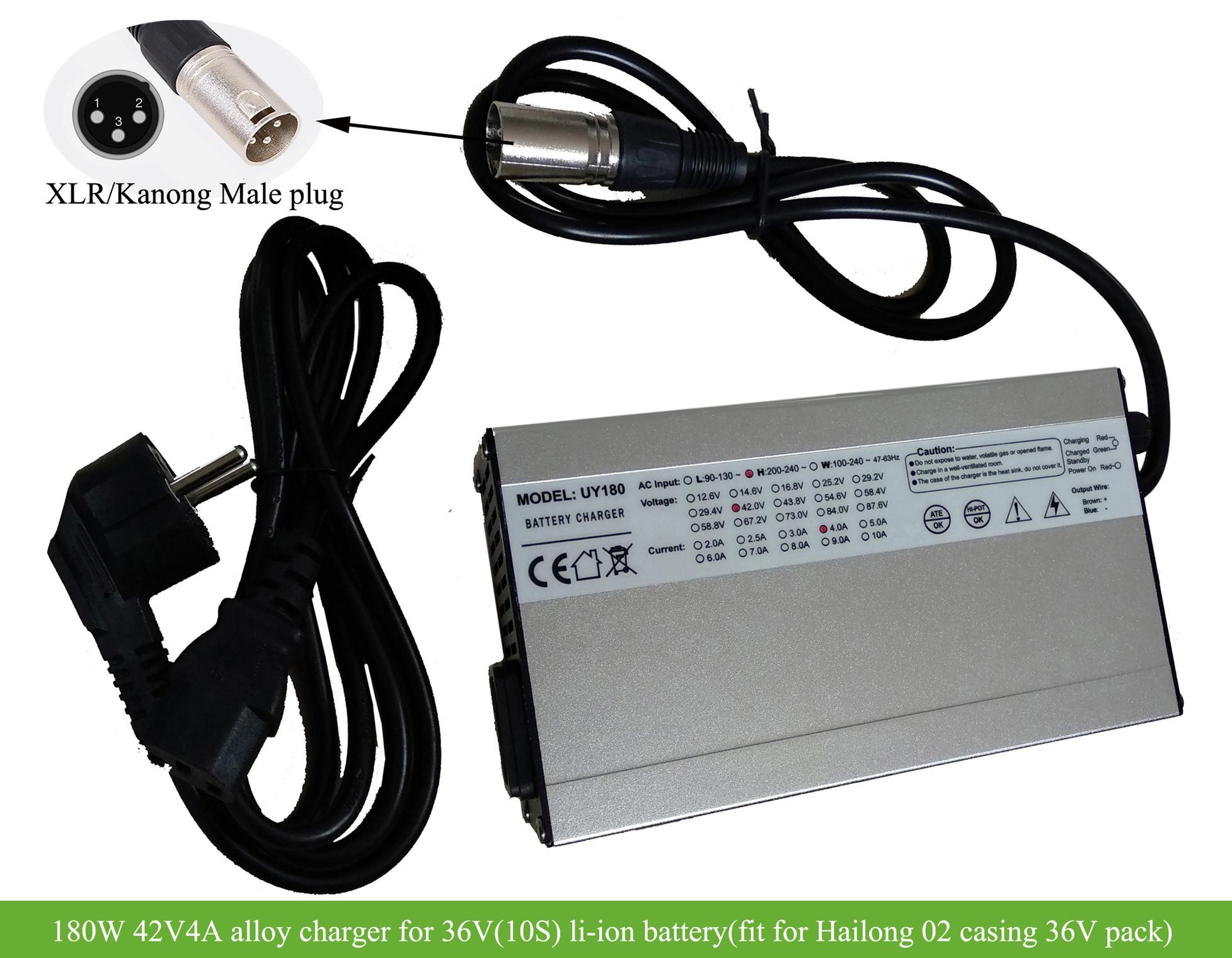 hight resolution of 36v hailong2 downtube battery charger 180w 42v 4a with xlr kanong connector