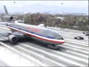 Plane on high way