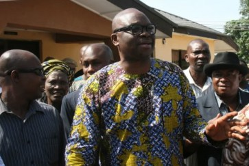 File photo: Ekiti state Governor, Ayodele Fayose standing at the court premises in Ekiti state