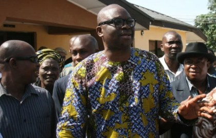 File photo: Ekiti state Governor, Ayodele Fayose standing at the court premises in Ekiti state