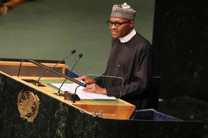 President Muhammadu Buhari addressing the UN General Assembly  at the 70th UN general Assembly Submit on 25th Sept 2015