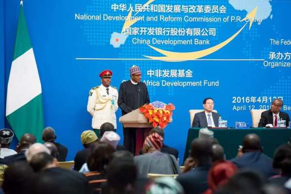 File Photo: President Muhammadu Buhari delivering speech in Beijing during a working visit to  China last year