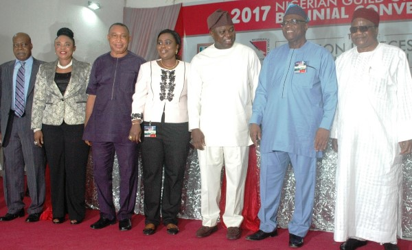 File photo: From Left: Chairman, Nigerian Guild of Editors (NGE) Electoral Committee, Mr Ray Ekpu; Publisher, The Source Magazine, Dame Comfort Obi; Guest Speaker, Mr Emma Agu; President. Nigerian Guild of Editors (NGE), Mrs Funke Egbemode;Gov. Mr Akinwunmi Ambode of Lagos State; representative of the Minister of Information and Culture and Managing Director, News Agency of Nigeria (NAN), Mr Bayo Onanuga and Former Minister of Information, Prince Tony Momoh, at the 2017 NGE Biennial Convention. Photo credit: NAN
