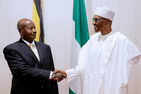 President Muhammadu Buhari and President of the Republic of Uganda, Yoweri Kaguta Musveni