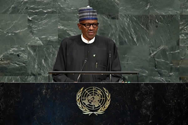 President Muhammadu Buhari addressing the UN General Assembly  at the 72nd UN General Assembly Submit on 19th Sept 2017