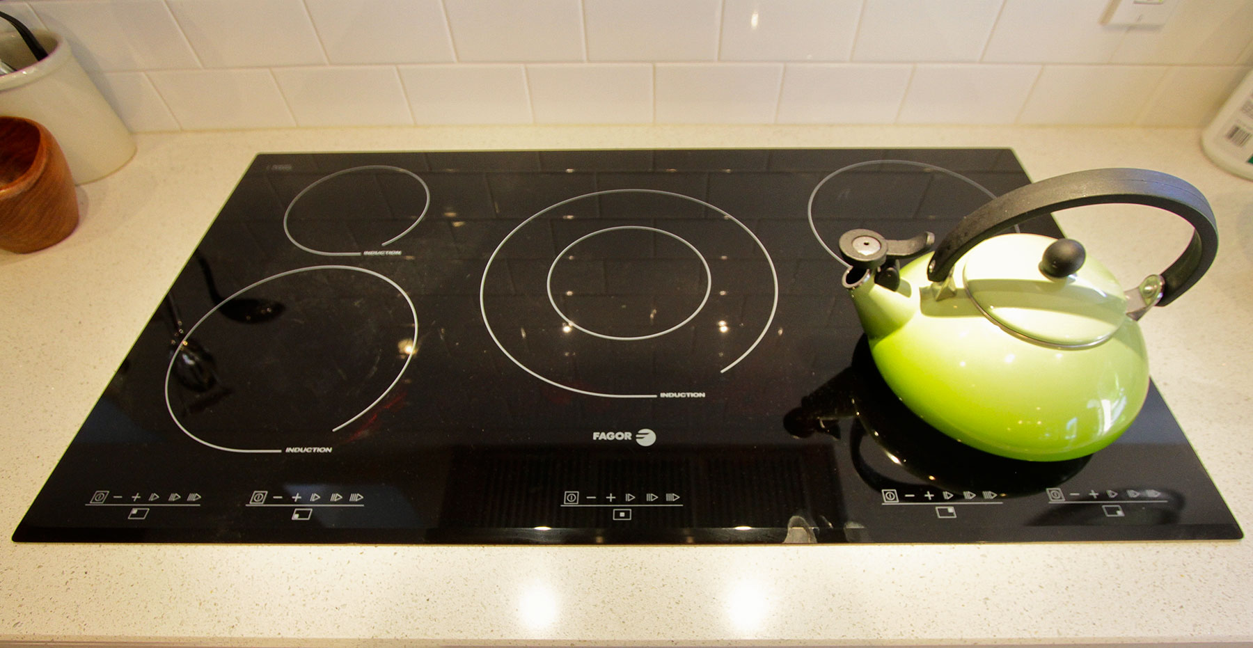 induction stove top with kettle