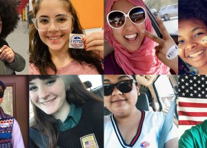 """people with """"I Voted"""" stickers"""