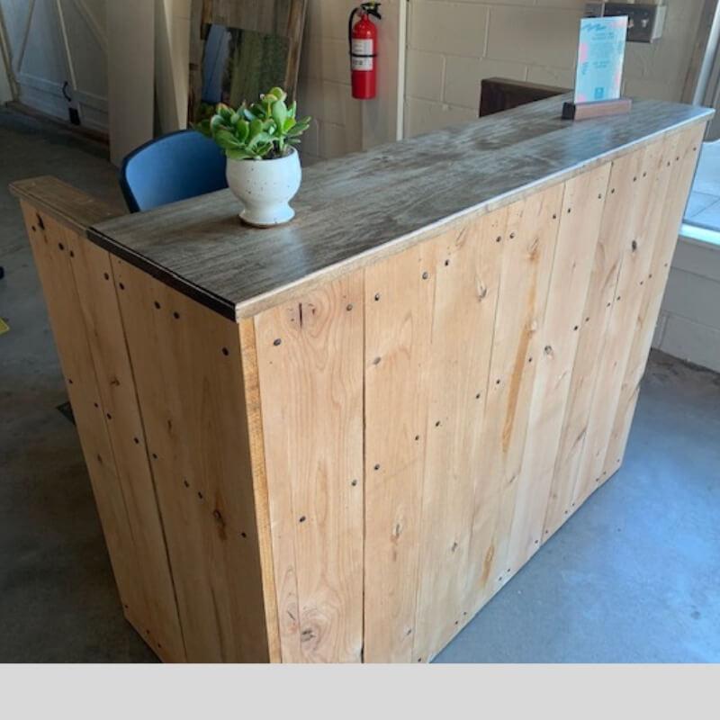 Small Wood Reception Desk Mini Sales Counter
