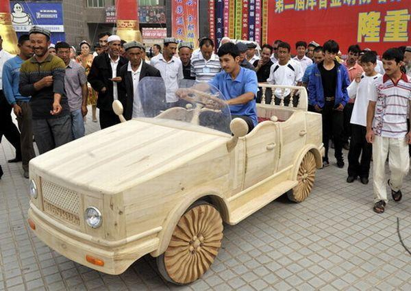 Battery powered Wooden Car
