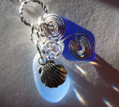 Blue Sea Glass Necklace Beach Glass Jewelry