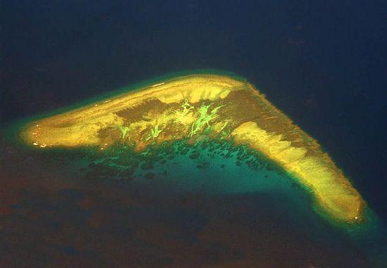 boomerang shaped island