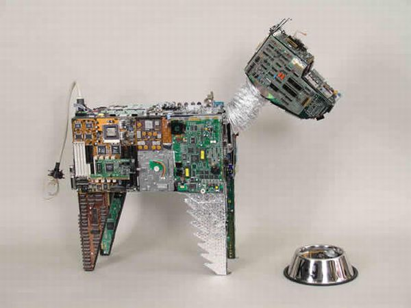 Electronic waste animal sculptures