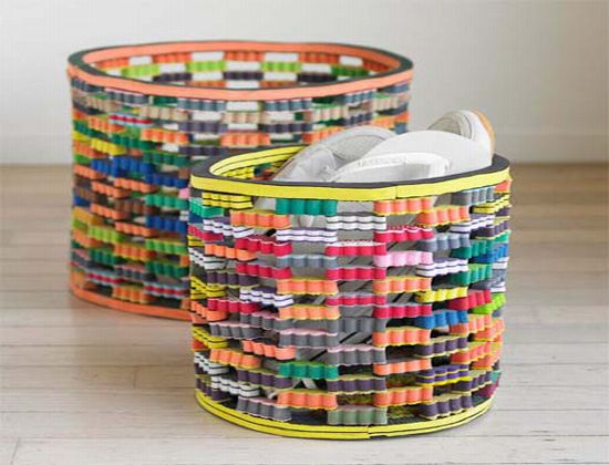 Funky bin made from leftover flip flop material dr prem for Easy recycled materials