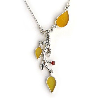 Yellow Leaf Sea Glass & Sterling Silver Necklace