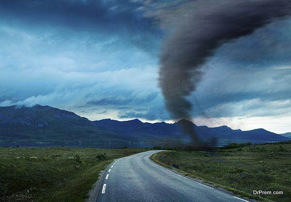 tornado on road