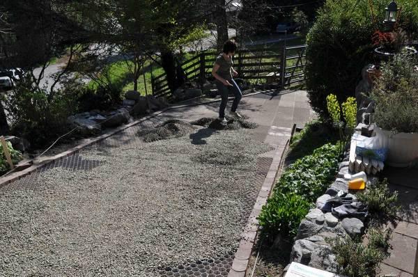 green driveway sloped